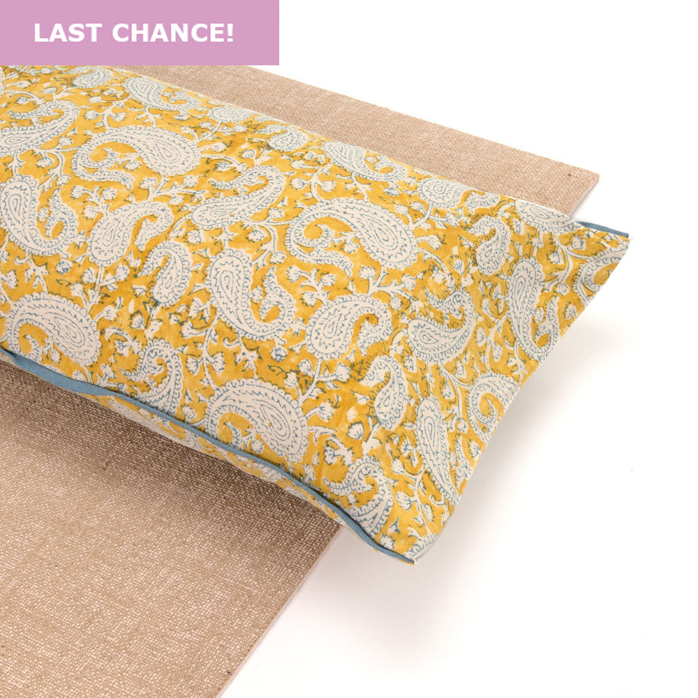 Mustard Paisley Yoga Pillow-Yoga-Block Printed, Yoga Pillows-