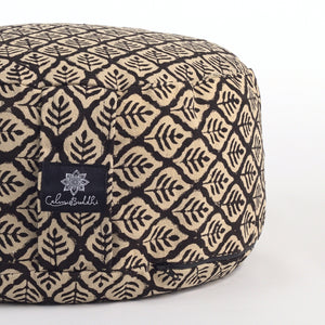 Rondo mod meditation cushion ~ Black Leaf-Meditation Cushion-Rondos-