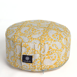 Rondo mod meditation cushion ~ Mustard Paisley-Meditation Cushion-Rondos-
