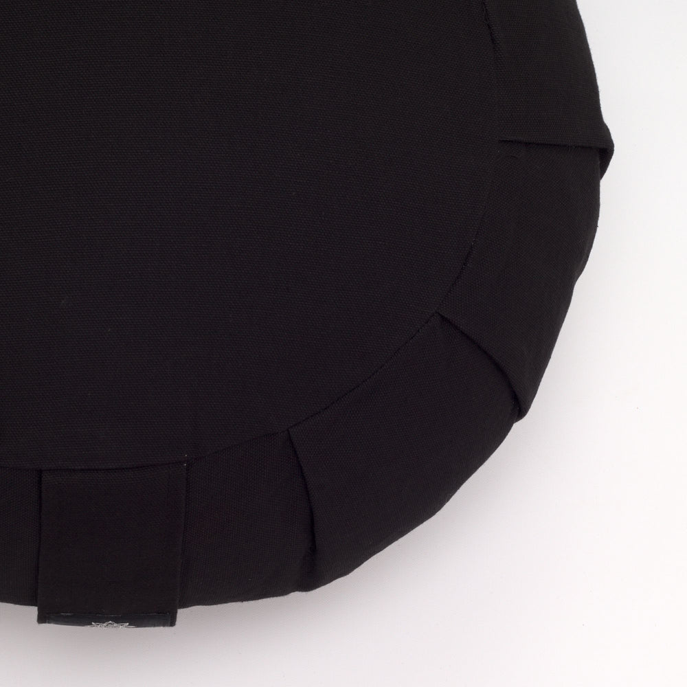 Round Meditation Cushion - Black-Meditation Cushion-Classic, Zafus-
