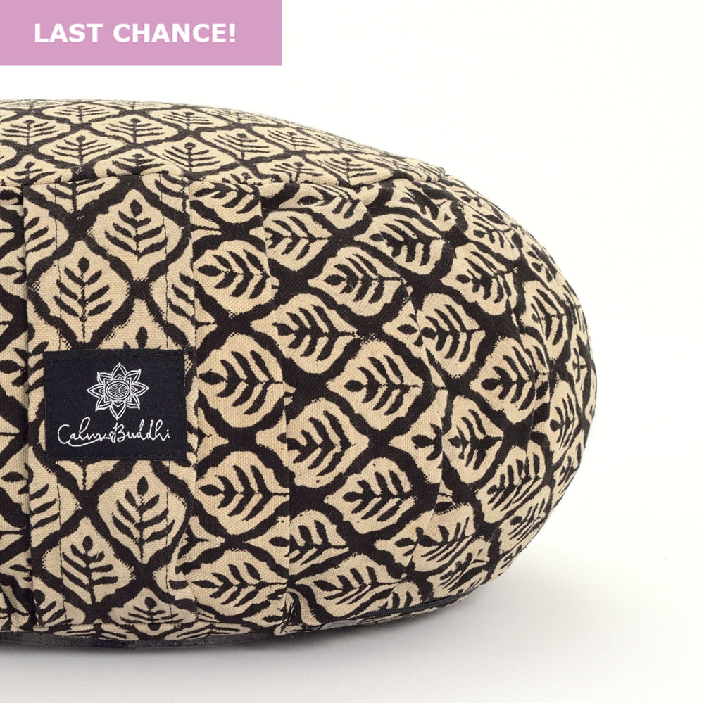 Round meditation cushion black leaf-Meditation Cushion-Block Printed, Zafus-