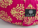 Round Meditation Cushion ~Fuchsia Indian Motif Zafu-Meditation Cushion-Calm Buddhi-xo