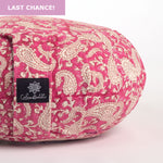 Round Meditation Cushion - Fuchsia Paisley Pink-Meditation Cushion-Zafus-