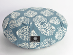 Round Meditation Cushion ~ Indian Motif Zafu-Meditation Cushion-Block Printed, Zafus-