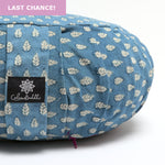 Round meditation cushion - indigo leaf-Meditation-Block Printed, Zafus-