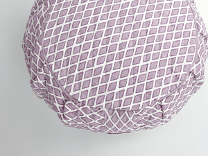 Round Meditation Cushion - Jaipur Mauve Diamond Zafu-Meditation Cushion-Block Printed, Zafus-