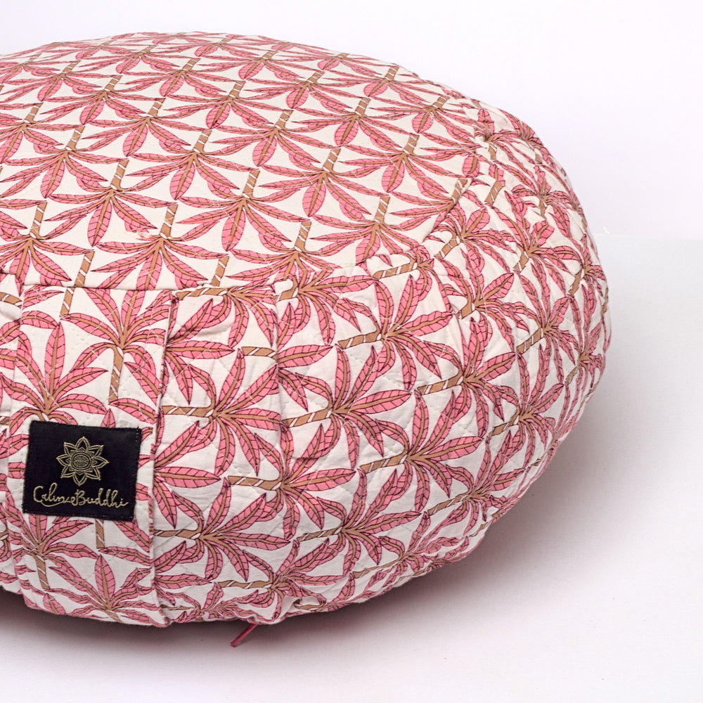 Load image into Gallery viewer, Round Meditation Cushion - Jaipur Palm-Meditation Cushion-Block Printed, Zafus-