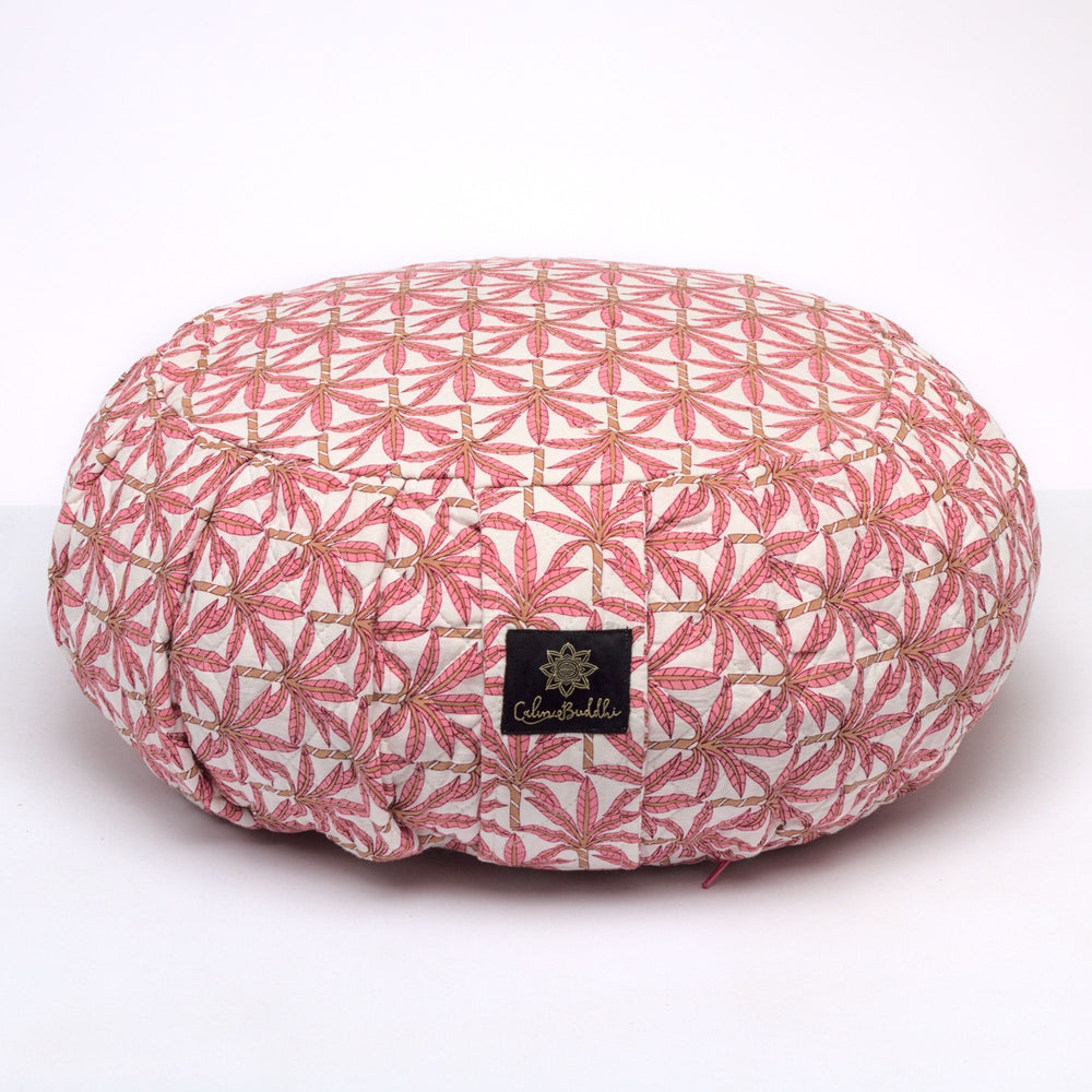 Round Meditation Cushion - Jaipur Palm-Meditation Cushion-Block Printed, Zafus-