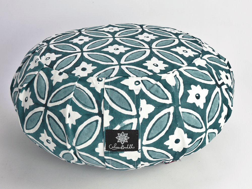 Round Meditation Cushion ~ Moroccan Tile-Meditation Cushion-Block Printed, Zafus-