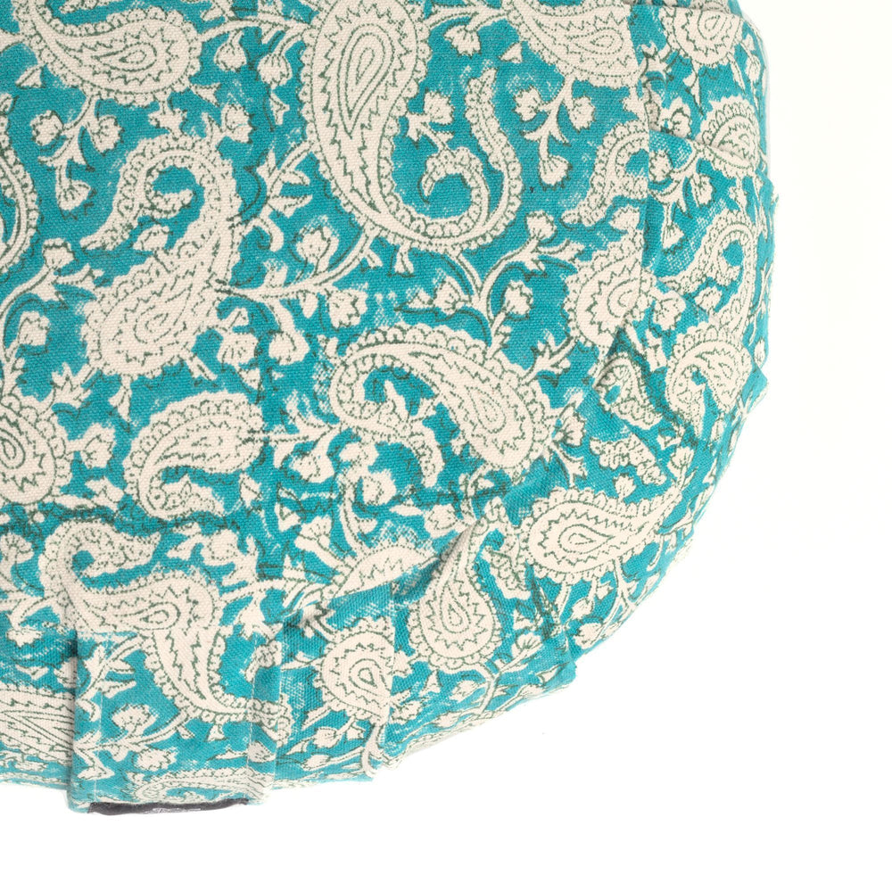 Round Meditation Cushion - Teal Paisley-Meditation Cushion-Block Printed, Zafus-