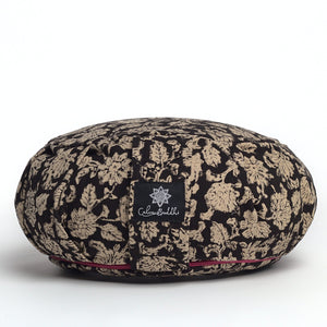 Round Meditation Mini Cushion -  Black floral