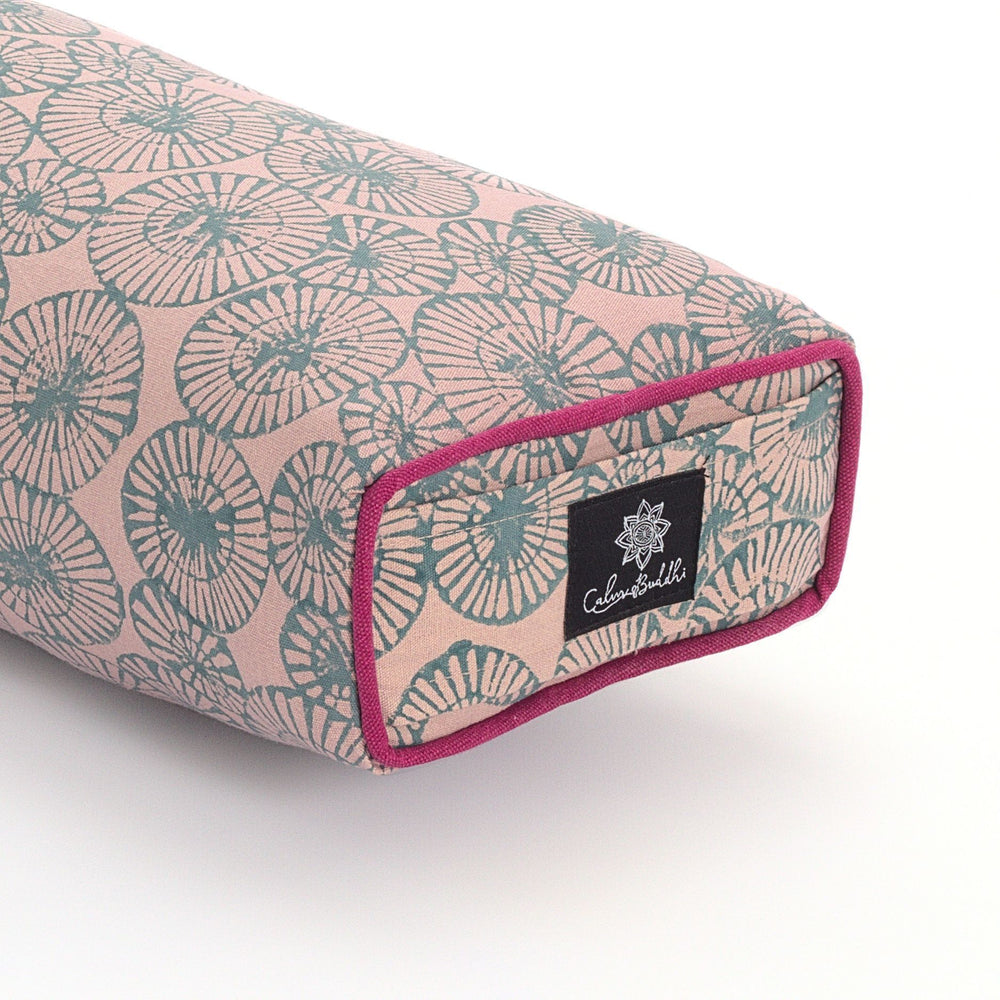 Load image into Gallery viewer, Teal Chakra Pranayama Yoga Bolster-Yoga Bolster-Block Printed, Prana Bolsters-