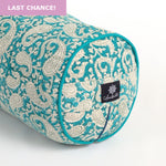 Teal Paisley Round Yoga Bolster - Teal piping-Yoga Bolster-Round Bolsters-