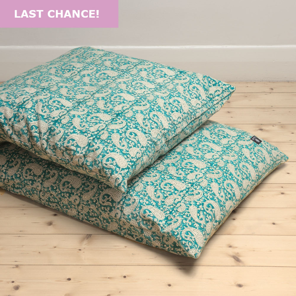 Teal Paisley Yoga Nidra and Meditation Futon-Meditation-Block Printed, Futons-
