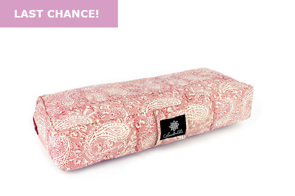 Travel Yoga Bolster ~ Paisley Pink-Yoga Bolster-Block Printed, Travel Bolsters-