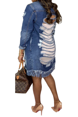 Hollow out distressed denim Dress/Jacket