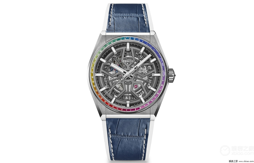 Zenith Defy Classic Rainbow, Brushed Titanium case with Rainbow sapphires bezel (Red Strap)