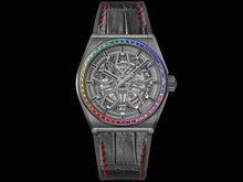 Load image into Gallery viewer, Zenith Defy Classic Rainbow, Black Ceramic case with Rainbow sapphires bezel 33.9002.670/96.R587