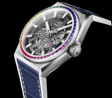 Load image into Gallery viewer, Zenith Defy Classic Rainbow, Brushed Titanium case with Rainbow sapphires bezel (Red Strap)