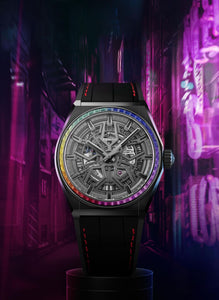 Zenith Defy Classic Rainbow, Black Ceramic case with Rainbow sapphires bezel 33.9002.670/96.R587