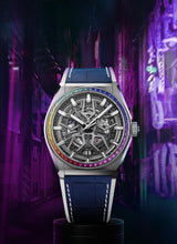 Load image into Gallery viewer, Zenith Defy Classic Rainbow, Brushed Titanium case with Rainbow sapphires bezel 32.9003.670/86.R588