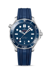 Load image into Gallery viewer, Pre-owned Omega Seamaster Diver 300 M Blue on Rubber