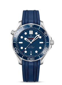 Pre-owned Omega Seamaster Diver 300 M Blue on Rubber