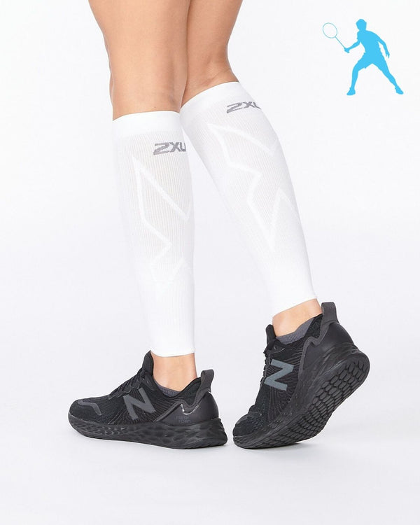 Badminton X Compression Calf Sleeves Unisex White