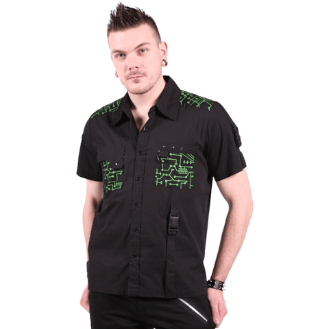 Dead threads Green cyber circuit board shirt