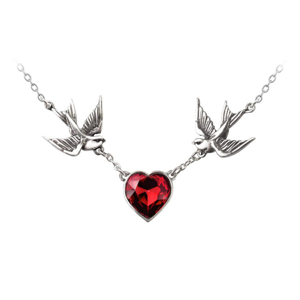 Swallow Heart Necklace - Goth Unite