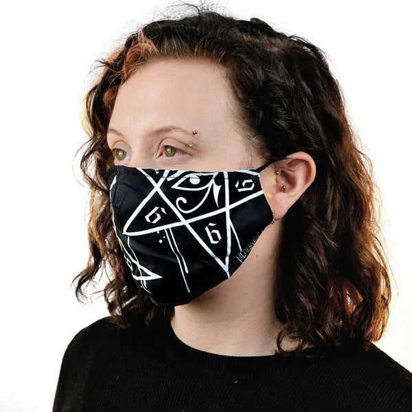 Face Mask - Made from 2-ply polyester fabric. The double lined masks have a slit on the inside into which a carbon filter can be added. The mask fits around the ears with a soft stretchy elasticated cord and has small soft rubbery toggles for perfect fit. These fashion masks can be used to help protect against dust and pollen. Reusable and washable.