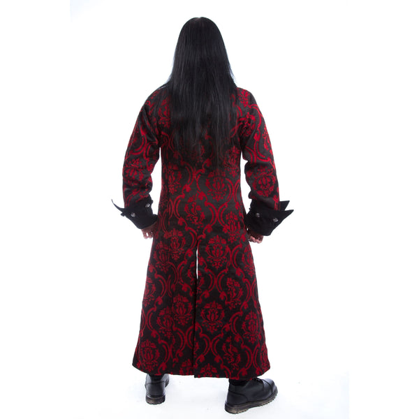 QUENTIN COAT - RED BROCADE