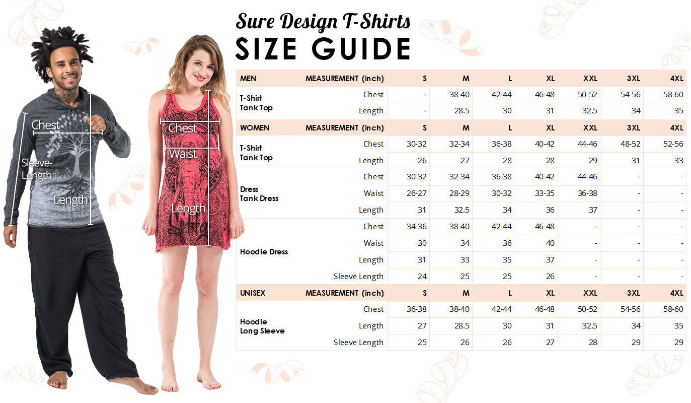 Sure Design Tshirts Size Guide