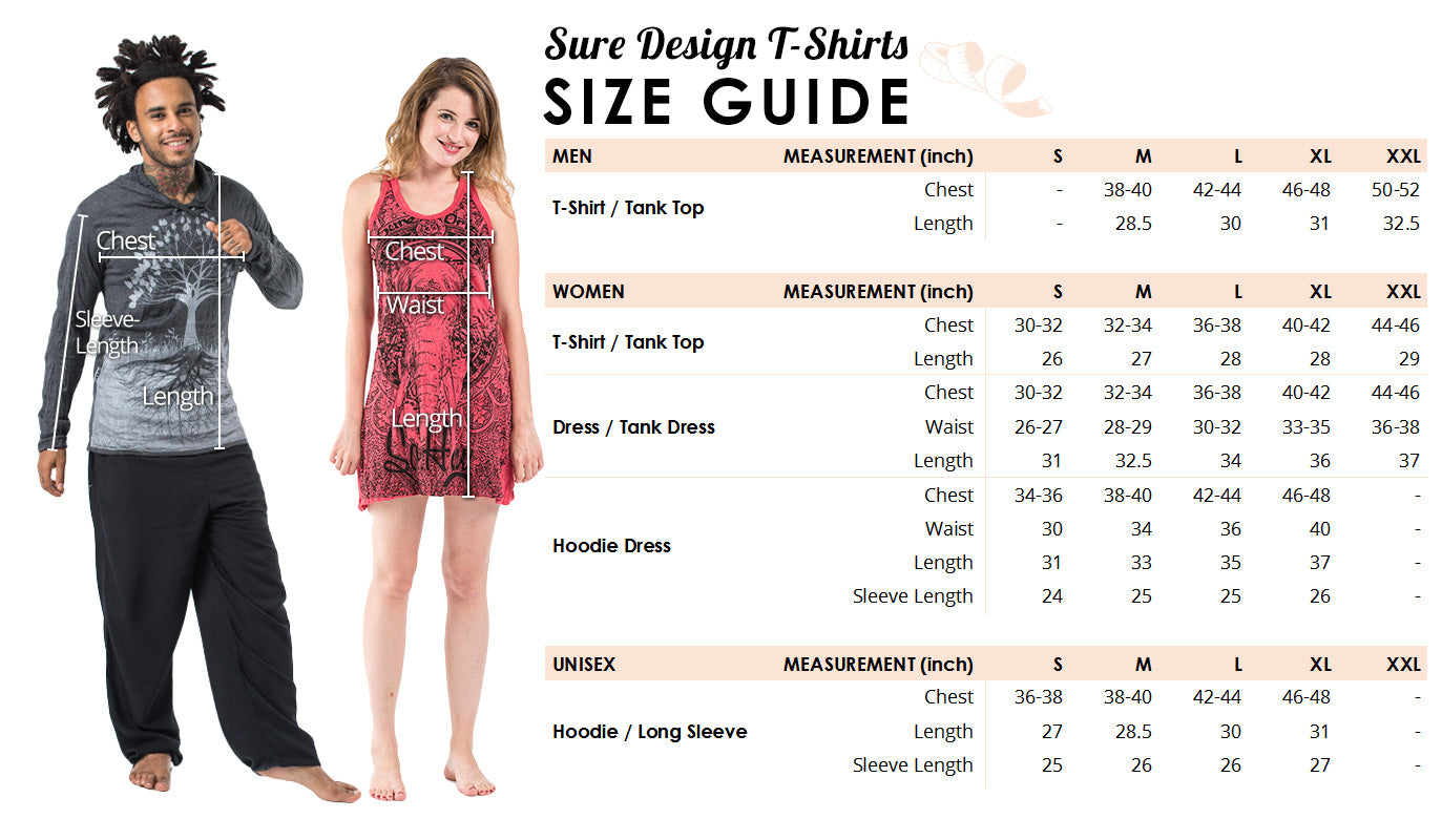 sure design t-shirt size guide