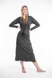 Womens Tree of Life Long Hoodie Dress in Black