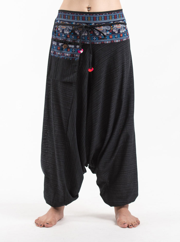 Unisex Pinstripe Harem Pants with Elephant Trim in Black