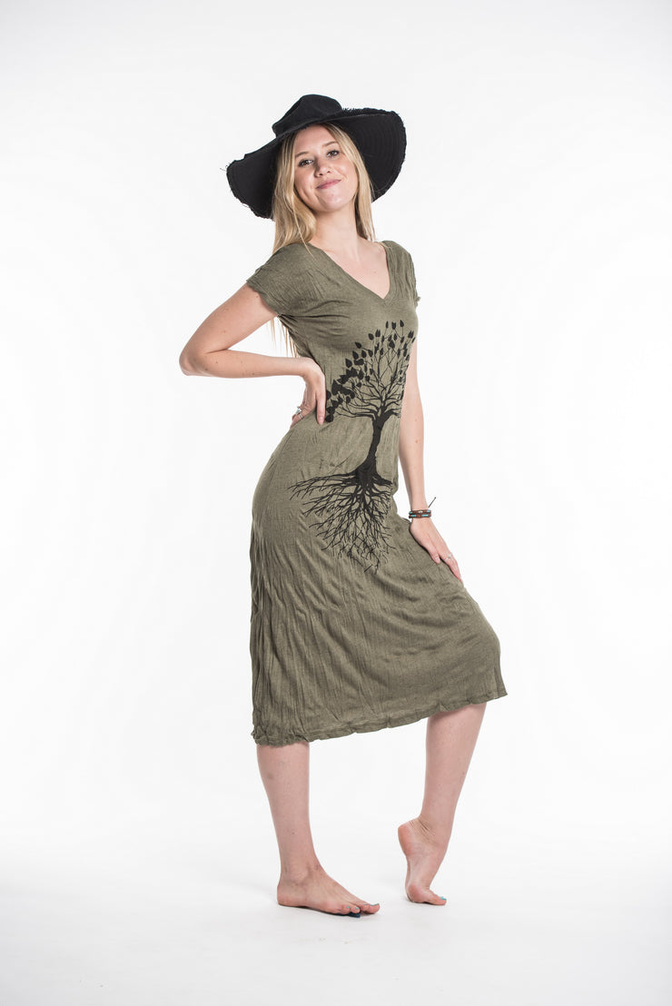 Womens Tree of Life V Neck Long Dress in Green
