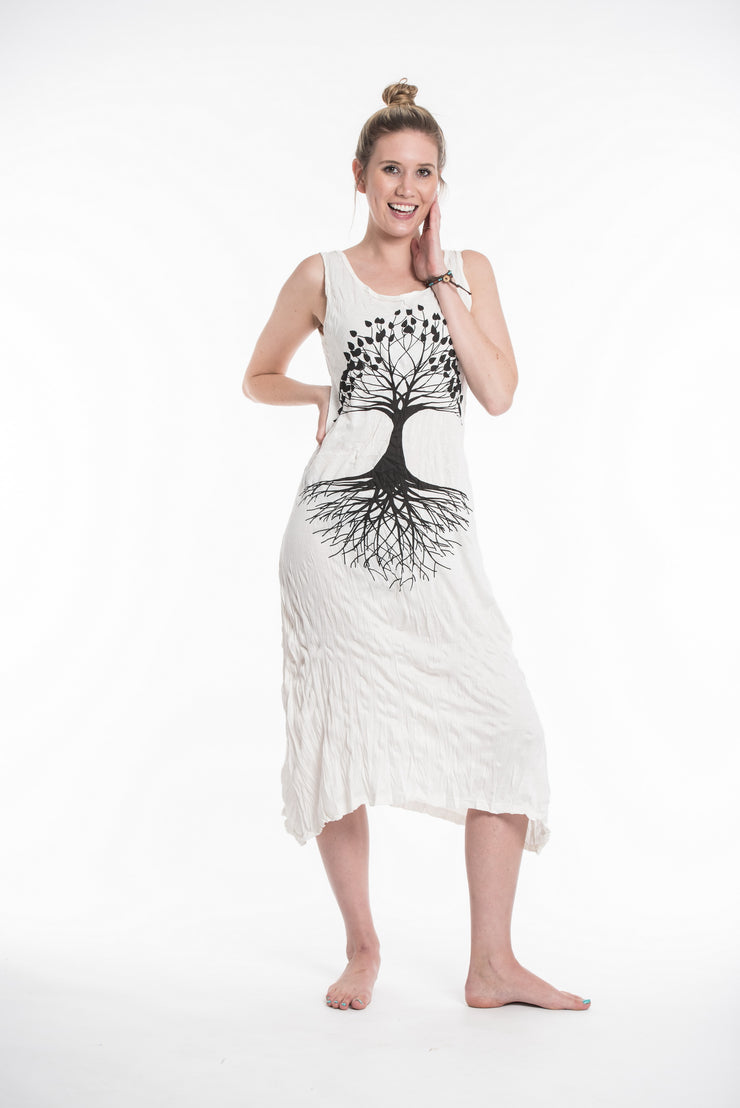 Womens Tree of Life Long Tank Dress in White