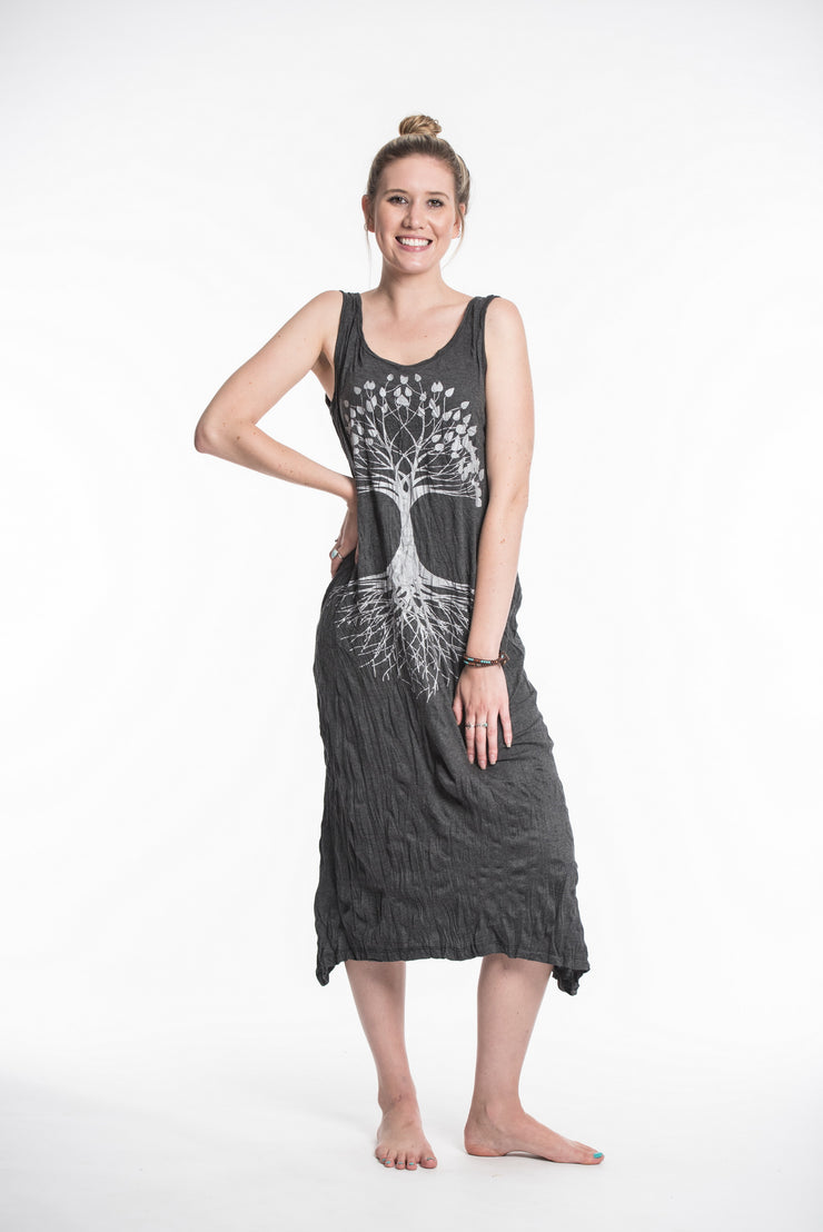 Womens Tree of Life Long Tank Dress in Silver on Black