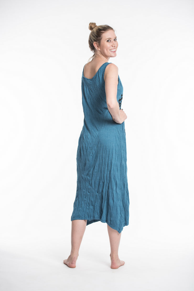 Womens Tree of Life Long Tank Dress in Denim Blue