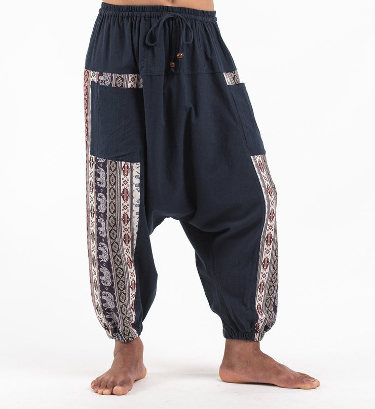 Unisex Elephant Aztec Cotton Harem Pants in Navy