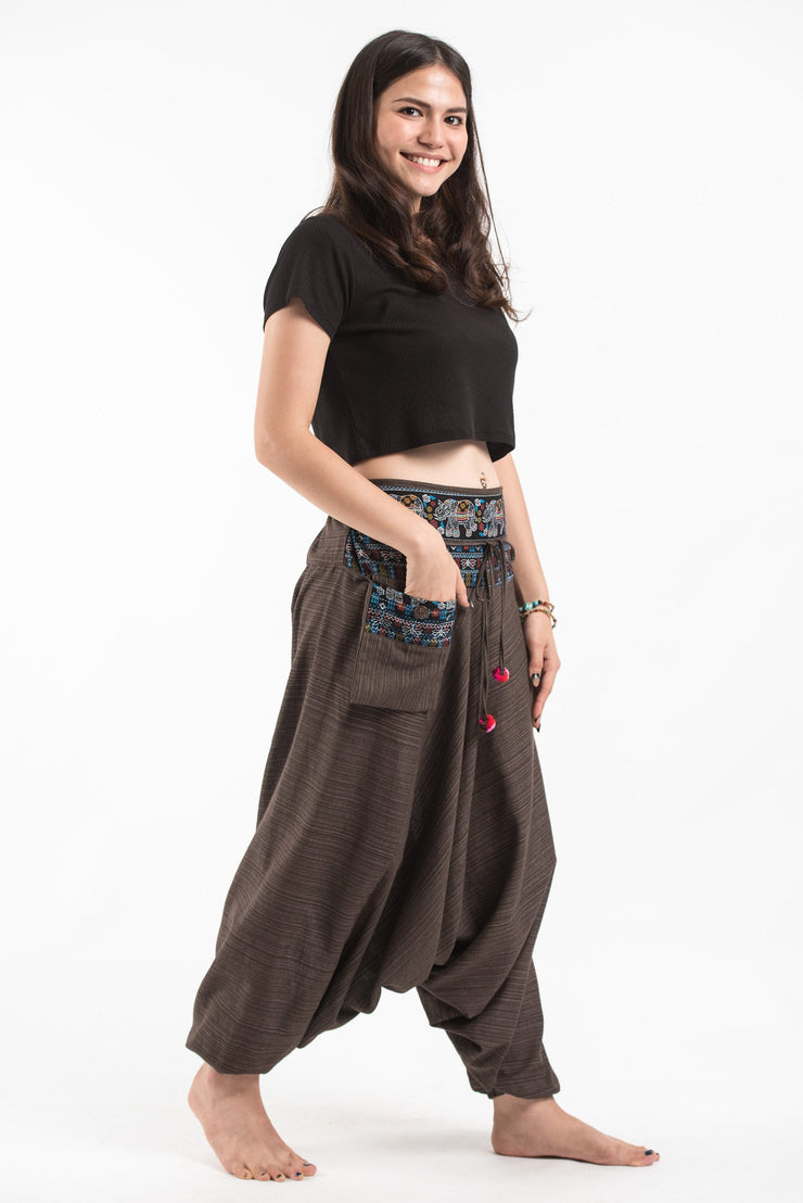 Unisex Pinstripe Harem Pants with Elephant Trim in Brown