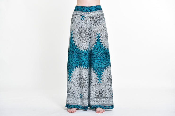 Womens Marble Mandalas Palazzo Pants in Turquoise