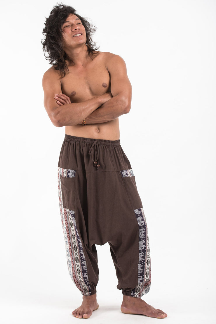 Unisex Elephant Aztec Cotton Harem Pants in Brown