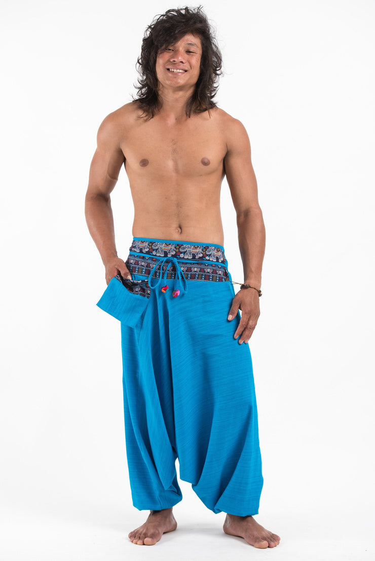 Unisex Pinstripe Harem Pants with Elephant Trim in Blue