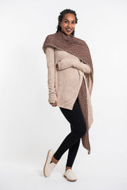 Hoodie Shawl Cardigan in Brown