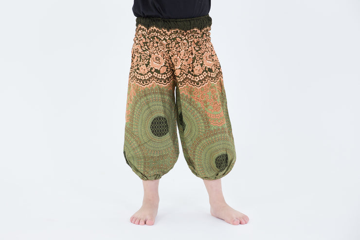 Kids Geometric Mandalas Harem Pants in Olive