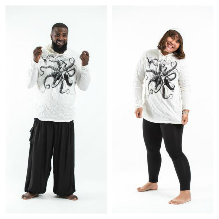 Plus Size Unisex Octopus Hoodie in White