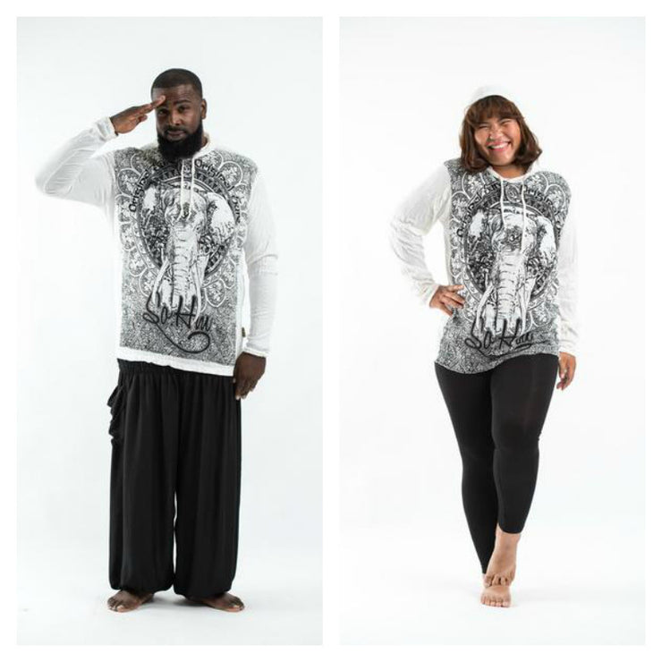 Plus Size Unisex Wild Elephant Hoodie in White