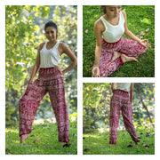 Unisex Tribal Prints Harem Pants in Red
